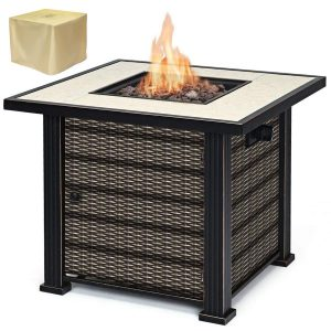 """Giantex 30"""" Square Propane Gas Fire Pit Table"""