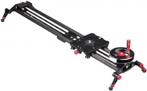 "Kamerar 31"" Fluid Motion Video Slider- flywheel, counterweight, light carbon fiber rails, adjustable legs, dslr camera camcorder stabilization track, tripod mount ready, stabilizer"