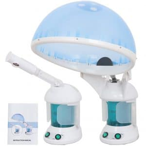 Portable 2 In 1 Hair and Facial Steamer W Bonnet Hood for Personal Home Use, Mini Table TOP SPA Steamer Machine with Cap