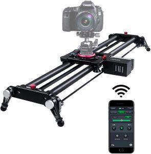Camera Slider, ASHANKS Bluetooth APP Motorized Electric Tracking Track Dolly Slider Carbon Fiber Rail