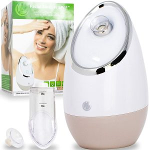 Facial Steamer SPA+ by Microderm GLO - Best Professional Nano Ionic Warm Mist, Home Face Sauna, Portable Humidifier Machine, Deep Clean & Tighten Skin, Daily Hydration