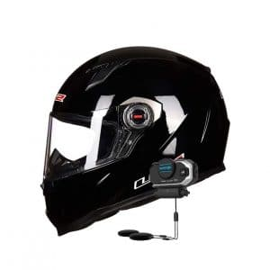 Full Face Motorcycle Helmet with Bluetooth Headset