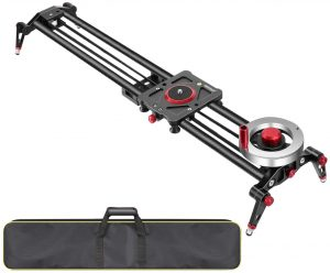 Neewer Camera Slider Video Track Dolly Rail Stabilizer- 31-inch 80cm, Flywheel Counterweight with Light Carbon Fiber Rails, Adjustable Legs, Carry Bag, DSLR Camera Camcorder Track