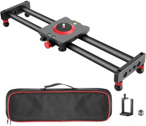 Neewer Camera Slider Carbon Fiber Dolly Rail, 16 inches 40 Centimeters with 4 Bearings for Smartphone Nikon Canon Sony Camera 12lbs Loading