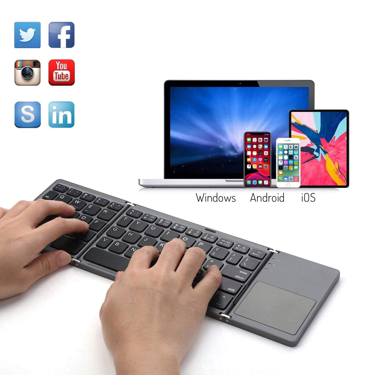 Black Support Android//iOS//Windows System Color : Black Comfortable and Freeing Hands Computer GK608 Ultra-Thin Foldable Bluetooth V3.0 Keyboard Built-in Holder