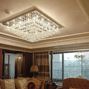 7PM 24-Inches Modern Square K9 Crystal Chandelier Ceiling Lighting