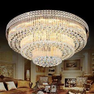 KALRI Modern K9 Crystal Flush Mount LED Chandelier Light