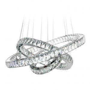 MEEROSSE Modern Ceiling LED Fixture 3 Ring Chandelier Lights