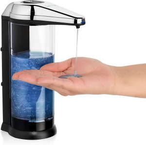 Solvac Automatic Soap Dispenser - Large Refillable Battery-Operated Dispensing Machine with Infrared Hand Motion Sensor