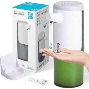 Touchless Hand Sanitizer Dispenser USB Rechargeable, Waterproof Hands Free for Kitchen Bathroom, Auto Sensor