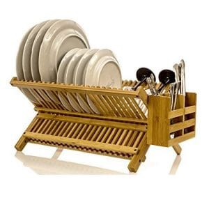 Intriom Bamboo 2-Tier Collapsible Dish Drying Rack