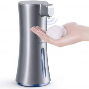[Upgraded Version] HadinEEon Soap Dispenser, Automatic Foaming Soap Dispenser 12oz 350ml, Touchless Battery Operated Hand Free Foam Soap Dispenser, IPX3 Waterproof