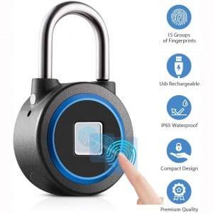 Fingerprint Padlock, Bluetooth Connection Metal Waterproof, Suitable for House Door, Suitcase, Backpack, Gym, Bike, Office
