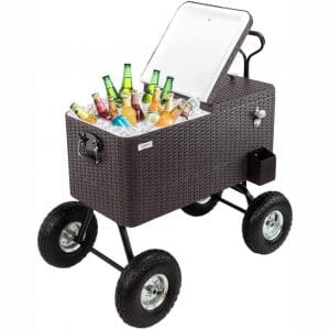 """VINGLI 80 Quart Wagon Rolling Cooler Ice Chest, w:Long Handle and 10"""" Wheels, Portable Beach Patio Party Bar Cold Drink Beverage"""