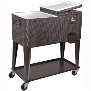 Clevr 80 Quart Qt Rolling Cooler Ice Chest Cart for Outdoor Patio Deck Party, Dark Brown Wicker Faux Rattan Tub Trolley