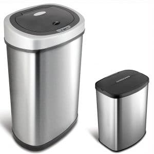 NINESTARS CB-DZT-50-9:8-1 Automatic Touchless Infrared Motion Sensor Trash Can Combo Set, 13 Gal 50L & 2 Gal 8L, Stainless Steel Base