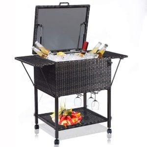 Giantex HW51578 108 Quart Rattan Cart Portable Wicker Cooler Trolley, Mix Brown