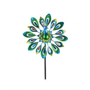 MUMTOP 51 Inches Wind Spinner Peacock Double Wind Sculpture