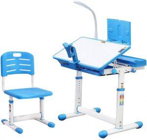 SAINGACE Blue Height Adjustable Children's Desk and Chair