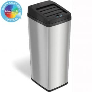 iTouchless 14 Gallon Sliding Lid Automatic Sensor Trash Can with Odor Filter System