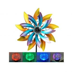 MAGGIFT 57 Inches Solar Wind Spin Color Changing LED Glass Balls