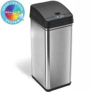 iTouchless 13 Gallon Stainless Steel Automatic Trash Can with Odor-Absorbing Filter, Wide Opening Sensor Kitchen Trash Bin