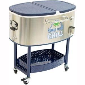 Margaritaville 77 Quart Oval Stainless Steel Outdoor Cooler with Wheels - Margaritaville Chill