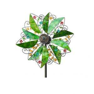 Wind & Weather Solar Leaves Garden Spinner