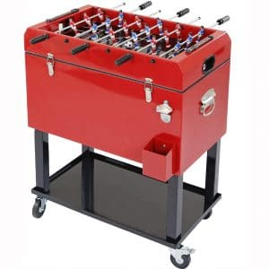 Clevr 68 Quart Qt Red Patio Cooler Ice Chest with Foosball Table Top, Portable Patio Party Bar Cold Drink Rolling Cart on Wheels with Tray Shelf