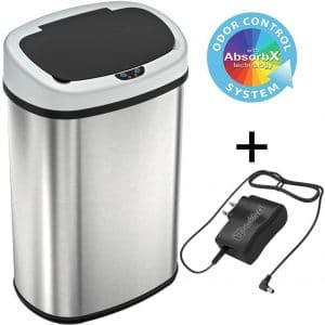 SensorCan 13 Gallon Battery-FREE Automatic Sensor Kitchen Trash Can with Power Adapter