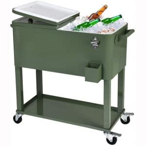 UPHA 80 Quart Rolling Outdoor Cooler, Patio Cooler Cart on Wheels, Portable Drink Beverage Bar for Patio Pool Party, Ice Chest with Shelf and Bottle Opener