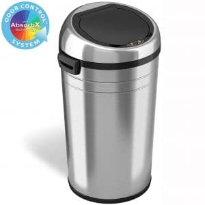 iTouchless 23 Gallon Touchless Sensor Trash Can with Odor Control System & Wheels, 87 Liter Commercial Size Automatic Garbage Bin