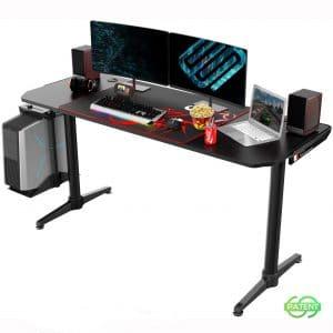 EUREKA ERGONOMIC I60 Computer Gaming Desk 60'' PC Computer Gaming Desks Carbon Fiber Texture Surface PC Gamer Desk for Gift for Boyfriend Son Game Lover Gift