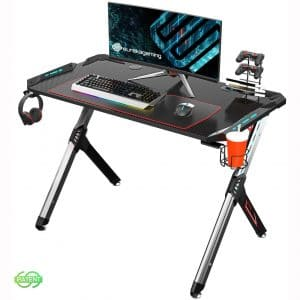 EUREKA ERGONOMIC Gaming Desk with RGB Lighting Gaming Table 44.5'' PC Desk Easy to Assemble Computer Desk with Free Mouse pad, Cup Holder& Headphone Hook