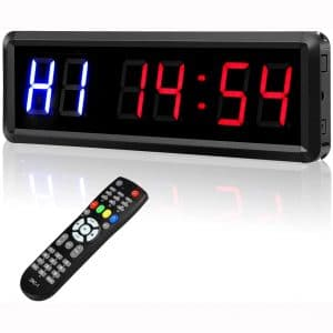"""Seesii Interval Timer Count Down:Up Clock, 1.5"""" 6 Digits LED Gym Timer Stopwatch with Remote for Home Gym Fitness Workouts"""