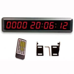 """EU 1.8"""" LED Days Countdown CountUP and Clock Red Color 10 Digits 9999 Days with Hours Minutes Seconds IR Remote Control Aluminum Casese"""