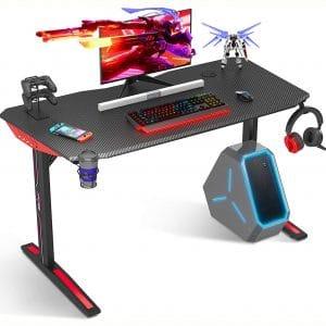 "Computer Desk, 40"" T Shaped Computer Desk, Gamer Tables Pro Carbon Coated, with Cup Holder Headphone Hook, Black"