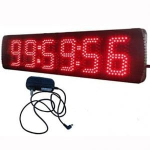 AZOOU 5-inch Hight Character Single Sided LED Sport Timing Clock Countdown:up Timer with IR Remote Control Red Color