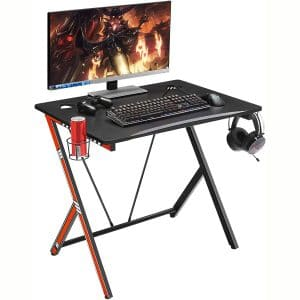 """Mr IRONSTONE 31.5"""" Gaming Desk PC Computer Desk Home Office Student Table for Small Space with Cup Holder, Headphone Holder & Cable Management Holes (Red)"""