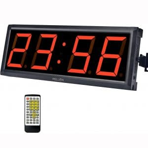 """Pellor Fitness Training Gym Timer Indoor Interval Timer Clock with Remote Control for Crossfit, Tabata, EMOM, MMA (4"""" Digits Height)"""
