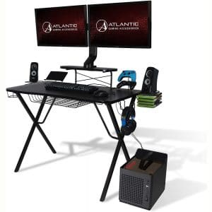 Atlantic Gaming Original Gaming-Desk Pro - Curved-Front, 10 Games, Controller, Headphone & Speaker Storage, 40.25x23.5 inch Curved Front Desktop