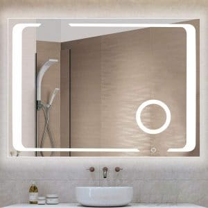 Qimh 32 x 24 Inches Wall Mounted LED Lighted Mirror for Bathroom