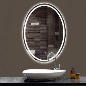 Keonjinn Oval Bathroom LED Lighted Makeup Mirror
