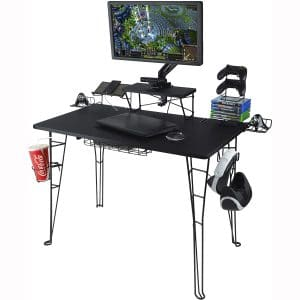 Atlantic Gaming Original Gaming Desk - 32 inch TV Stand, Charging Station, Speaker:5 Game:Controller:Headphone Storage