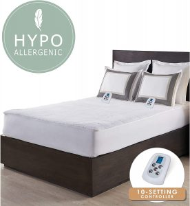 Serta | Luxurious Sherpa Plush Heated Electric Mattress Pad with Hypoallergenic Fill Queen