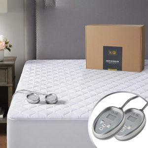 Premium Heated Mattress Pad California King Size| Quilted Cotton Heated Mattress Pad with 20 Heat Setting & Auto Shut Off