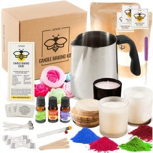 DIY Soy Candle Making Kit for Adults with Big Glass Candle Jars - Candle Making Supplies - Candle Rose Mold - Wicks - Soy Wax Flakes Candle Making Kits