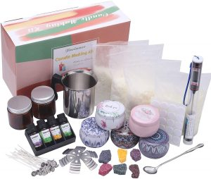 DIY Candle Making Kit Supplies, Complete Beginners Set with Soy Wax, Pot, Tins, Dyes, Wicks & More