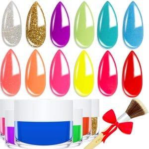 Double Dip Powder Colors Dust Brush 12 Colors Nail Art Set