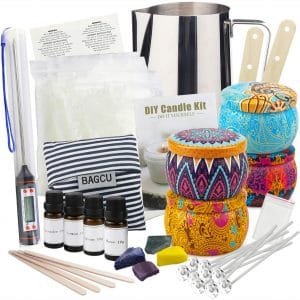 Candle Making Supplies DIY Candle Making Kit, Beeswax Arts and Crafts for Adults Gift Set with Fragrance Oil, Candle Wicks, Melting Pot, Tins, Dyes, Wooden Sticks
